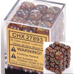 Lustrous 12mm d6 Gold/silver Dice Block (36 dados)