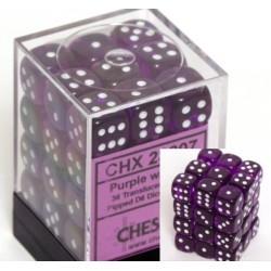 Translucent 12mm d6 Purple/white Dice Block (36 Dados)