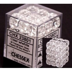 Translucent 12mm d6 Clear/white Dice Block (36 dados)