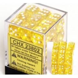 Translucent 12mm d6 Yellow/white Dice Block (36 dados)