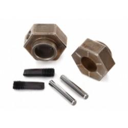 Wheel hubs, 12mm hex (2)/ stub axle pins (2) (steel) (TRX4)