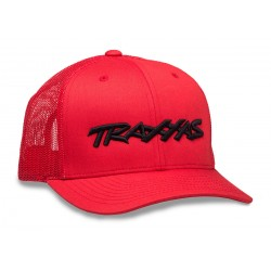 TRUCKER HAT CURVED BILL RED TRAXXAS LOGO