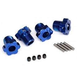 Wheel hubs, splined, 17mm (Blue-anodized) (4)