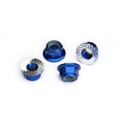 Nuts, 5mm flanged nylon locking (aluminum, blue-anodized, 4)