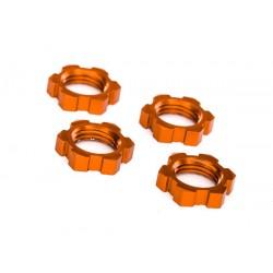 Wheel nuts, splined, 17mm, serrated (orange-anodized) (4)