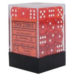 Translucent 12mm d6 Orange/white Dice Block (36 dados)