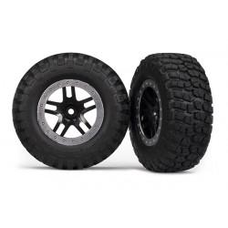 Tires & wheels, assembled, glued SCT Split-Spoke, black (2)