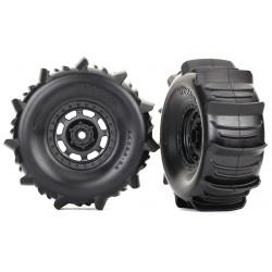 Tires and wheels, assembled, glued (2) Desert Racer paddle